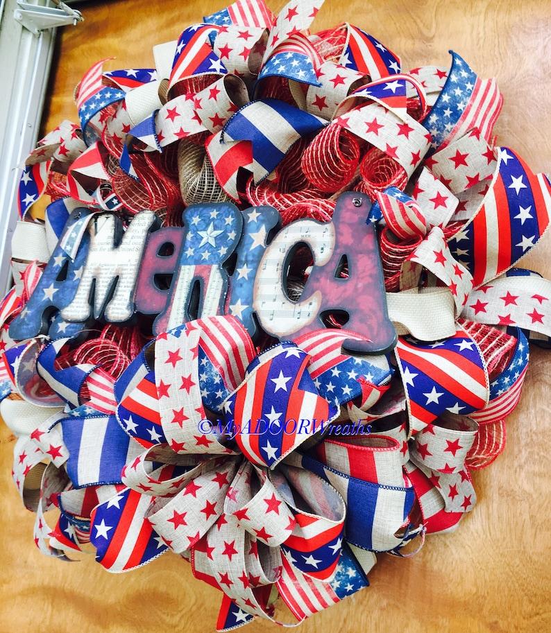 Welcome Patriotic Wreath Patriotic Wreath Americana Deco Mesh Wreath Primitive Patriotic Fourth Of July Decor Rustic Americana Wreath
