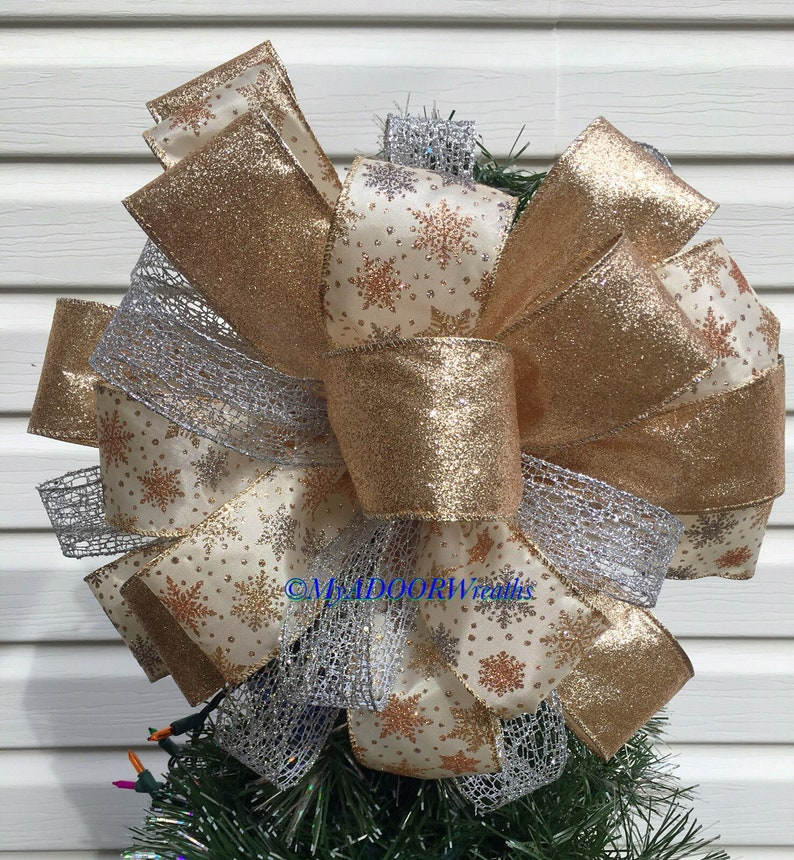 Champagne Silver Rose Gold Christmas Tree Topper Bow Christmas Snowflakes Bow Christmas Snowflakes Tree Topper Silver Gold Tree Bow Topper
