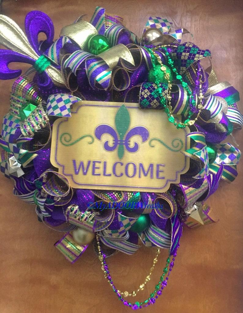 Mardi Gras NOLA Wreath Mardi Gras Fleur De Lis Decor Fleur De Lis Door Wreath Mardi Gras Welcome Door Wreath, Mardi Gras Welcome Wreath