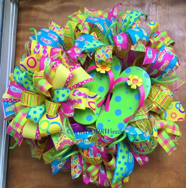 61df6818ef8e7f Flip Flops Wreath Summertime Wreath Beach Tropical Wreath