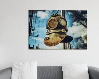 XXL Poster Diving Helmet at the Port of Hamburg Photography XXL Print 75 x 100 cm