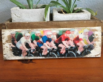 Wooden sign - road cyclist miniatures - Upcycling wine box board wood print