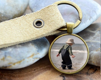 personalized keychain, cabochon and leather pendant gift for her