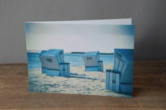 Grußkarte Maritim Muschel Karte Klappkarte Glüchwunschkarte mit Umschlag