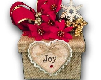 Hostess Christmas Keepsake Gift Box,Country Christmas Decoration,Personalized,Burlap,winter wonderland,rustic,christmas ornament,snowflake