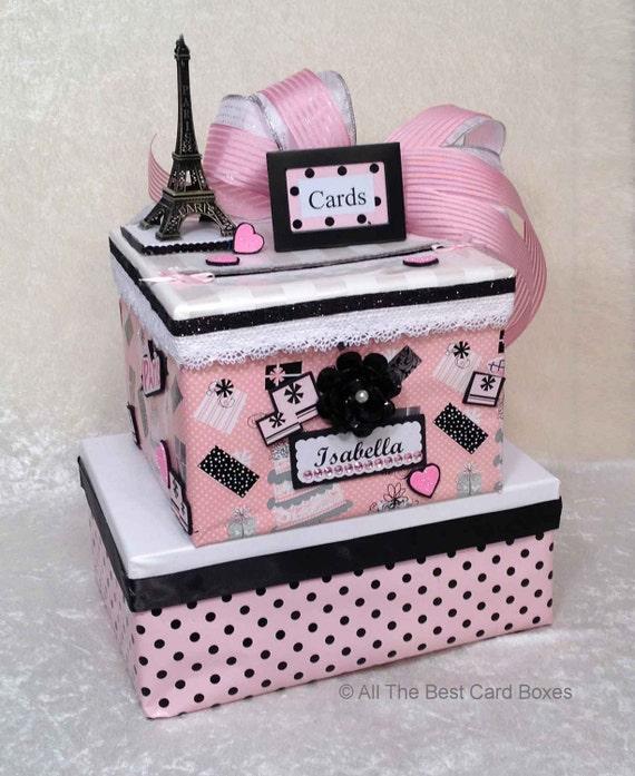 paris theme card box sweet 16 invitation quinceanera etsy