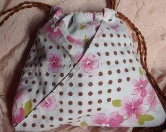 Kinchaku bag for yukata or kimono with several compartments