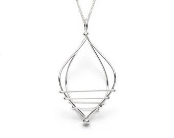 Long statement necklace, Dainty pendant necklace, Statement necklace silver, Everyday necklace, Long silver pendant, Long statement jewelry