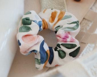 Organic Cotton Hair Scrunchie - Sierra Florals, elastic hair tie, bridesmaid gift, scrunchy, hair accessory