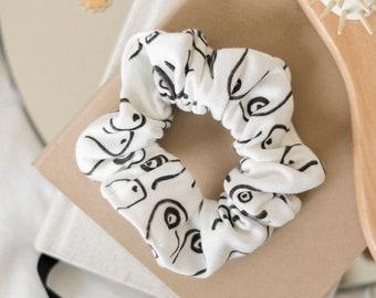 Organic Cotton Hair Scrunchie - Woman Series (White), elastic hair tie, bridesmaid gift, scrunchy, hair accessory