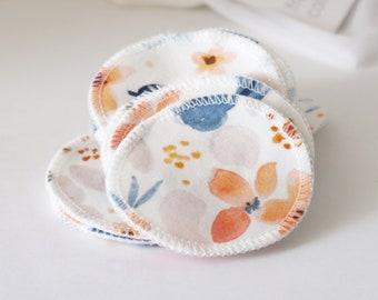 Reusable Cotton Rounds - Fawn Florals, 100% organic cotton, makeup remover, facial rounds, toner pads, set of 15, washable mesh bag