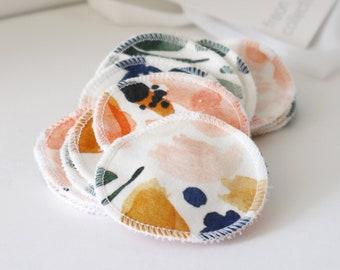 Reusable Cotton Rounds - Sierra Florals, 100% organic cotton, makeup remover, facial rounds, toner pads, set of 15, washable mesh bag