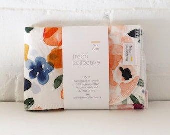 """Organic Cotton Face Cloth - Sierra Florals, 11"""" x11"""" face cloth, wash cloth, exfoliating, bridesmaid gift, sustainable gift"""