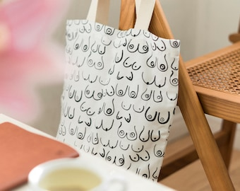 """Canvas Tote Bag - Woman Series, lightweight canvas tote, 15"""" x 13"""" long handle tote bag, market bag, tote bag with pocket"""
