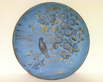 Bird and Cherry Blossoms Wall Relief Vintage Blue and Gold
