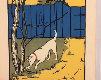 Vintage Colorblock Dog Burying a Bone Bookplate Childrn's Book Illustration Print