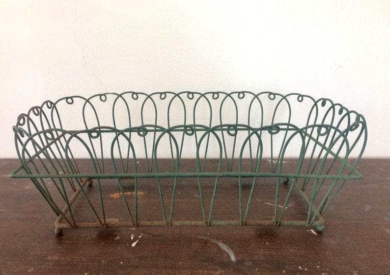 Tremendous Antique Green Wire Bottomless Garden Basket Decor Pabps2019 Chair Design Images Pabps2019Com