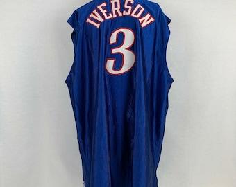 0329fe8310a Vintage Champion Authentic Allen Iverson Philadelphia 76ers Jersey SZ 56