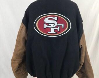 f6a09c919 Vintage 90s Reebok San Francisco 49ers Varsity Jacket L Black NFL Wool Blend