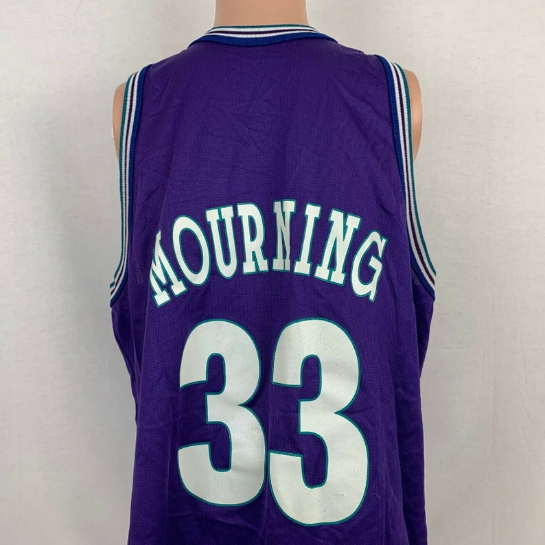 best service 2a3b3 e4c8e Champion Alonzo Mourning Charlotte Hornets Replica Jersey Size 48 Vtg 90s  NBA