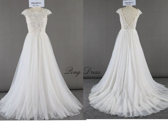 335d35f8a285b Flowy All ivory A line tulle lace wedding dress