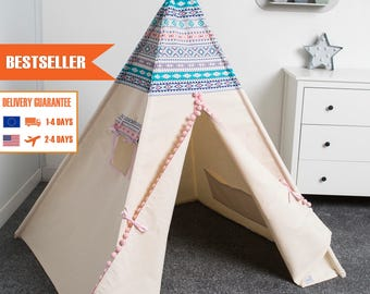 children's teepee tent, kids play tent, tipi, teepee for girl AZTEC