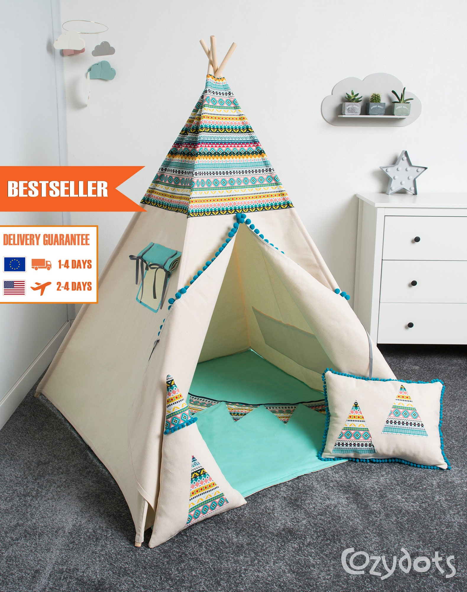 tente tipi tente indienne tente teepee tipi pour enfant etsy. Black Bedroom Furniture Sets. Home Design Ideas