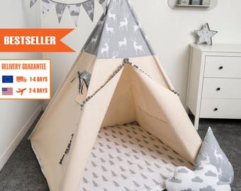 childrens teepee tent, kids play tent, tipi, teepee tent, set 6 elements indian wigwam GREY DEER