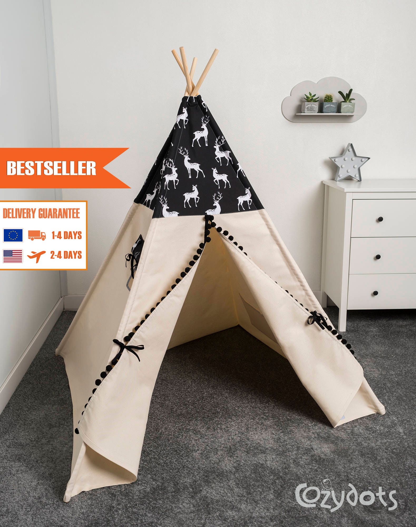 tipi enfant tente tipi tente indienne tente teepee tipi etsy. Black Bedroom Furniture Sets. Home Design Ideas