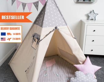 children teepee tent, kids play tent, tipi, teepee tent, set 6 elements indian wigwam GREY STAR GIRLS