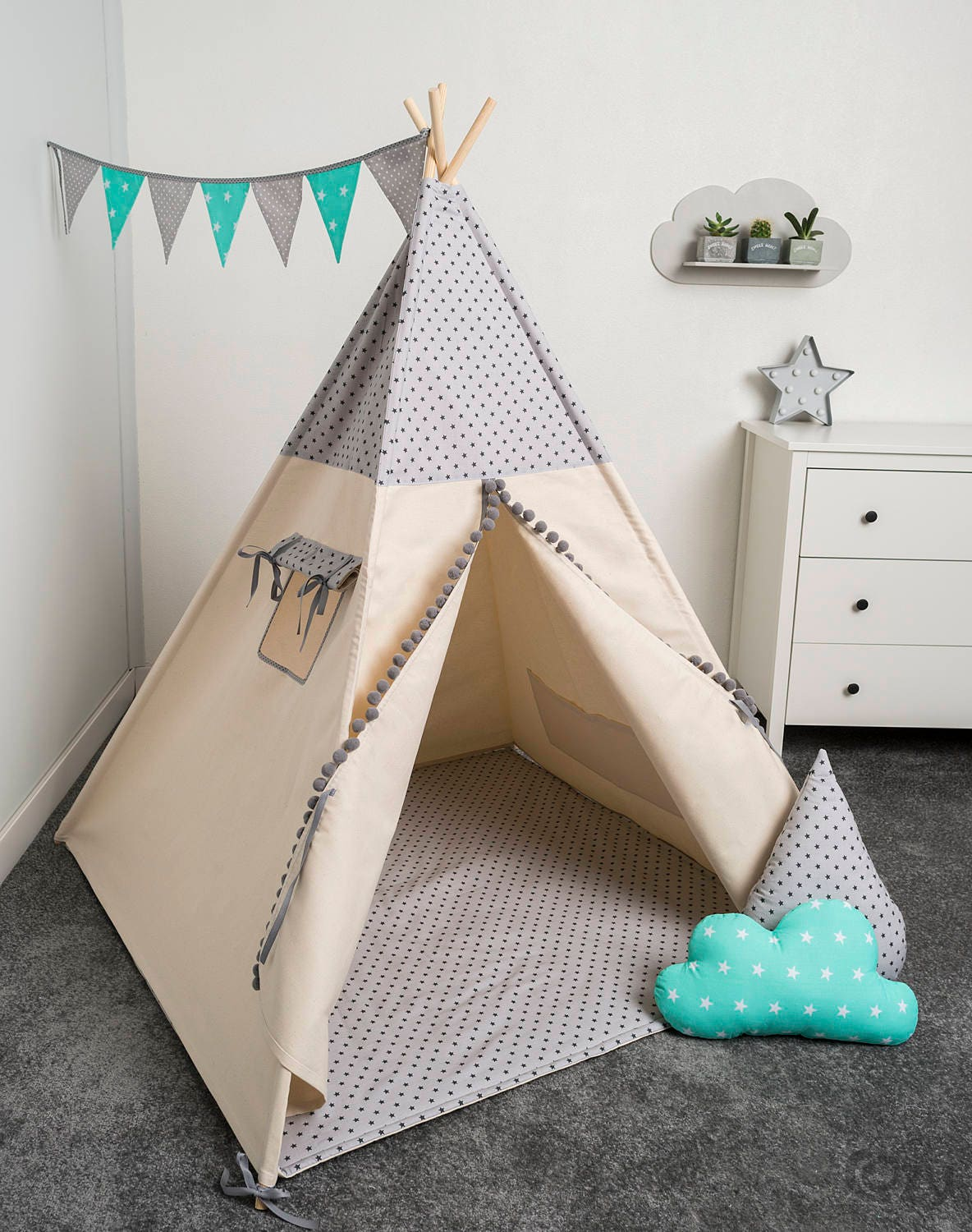 tente tipi indien les enfants jouent tente enfants tipi etsy. Black Bedroom Furniture Sets. Home Design Ideas