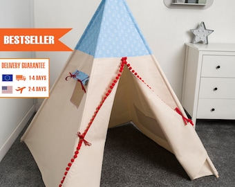 children teepee tent, kids teepee play tent, tipi, teepee tent, indian wigwam MARINE BLUE