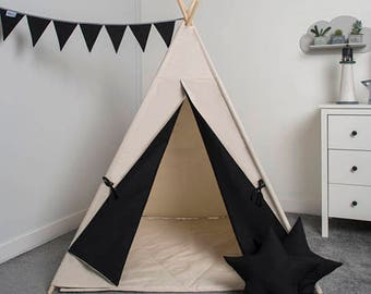 children's teepee tent, kids teepee play tent, tipi, teepee tent, set 6 elements indian wigwam Just Black