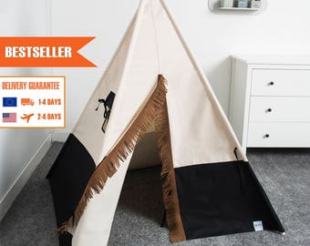 indian teepee tent, kids teepee play tent, tipi tent, black teepee tent