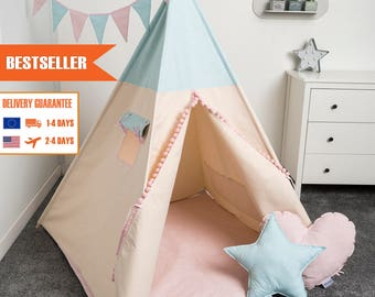 children teepee tent, kids play tent, tipi, teepee tent, set 6 elements indian wigwam SUMMER