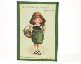 Vintage Irish Lass St Patricks Day Card - St Paddys Green - Green Card - Irish