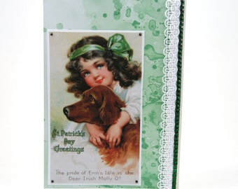 Vintage Irish Lass St Patricks Day Card - St Paddys Irish Lass - Vintage St Patrick's Day - Irish Lass and Dog - Green Card