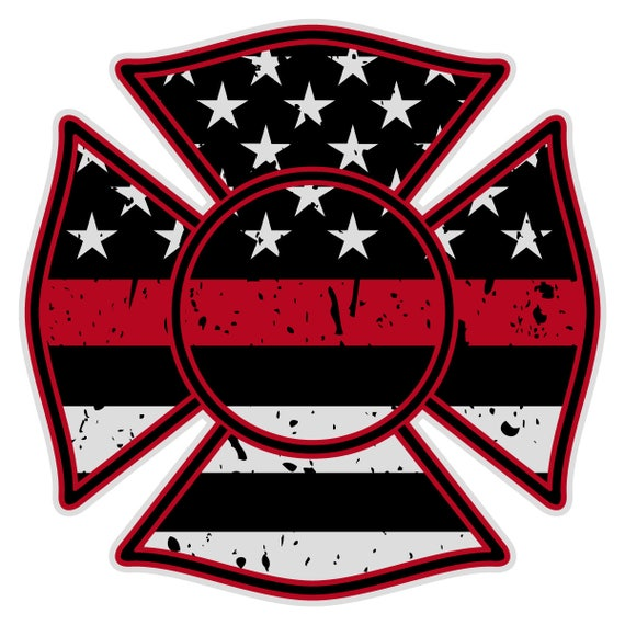 """Firefighter Maltese Cross Distressed Black Flag Red Line Reflective 4/"""" Decal"""