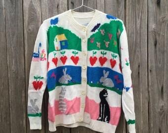 0e0c202f3110ae Maglione Vintage/ anni '90/ donna/ lana/ taglia M/colore bianco/ multicolor