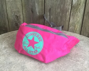Converse Fanny pack  Vintage  90s  All Star  fuxia  two pockets  14 cm x 29  cm 202e440b1d592
