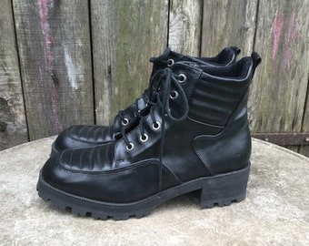 Vintage Shoes/ 90s/ faux leather/ woman/ black/ number IT 40/ UK 6.5/ US 9/ lined/ Made in Italy