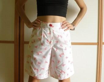 Handmade Bermudas pants//red zebras motifs//high waist//Small side.
