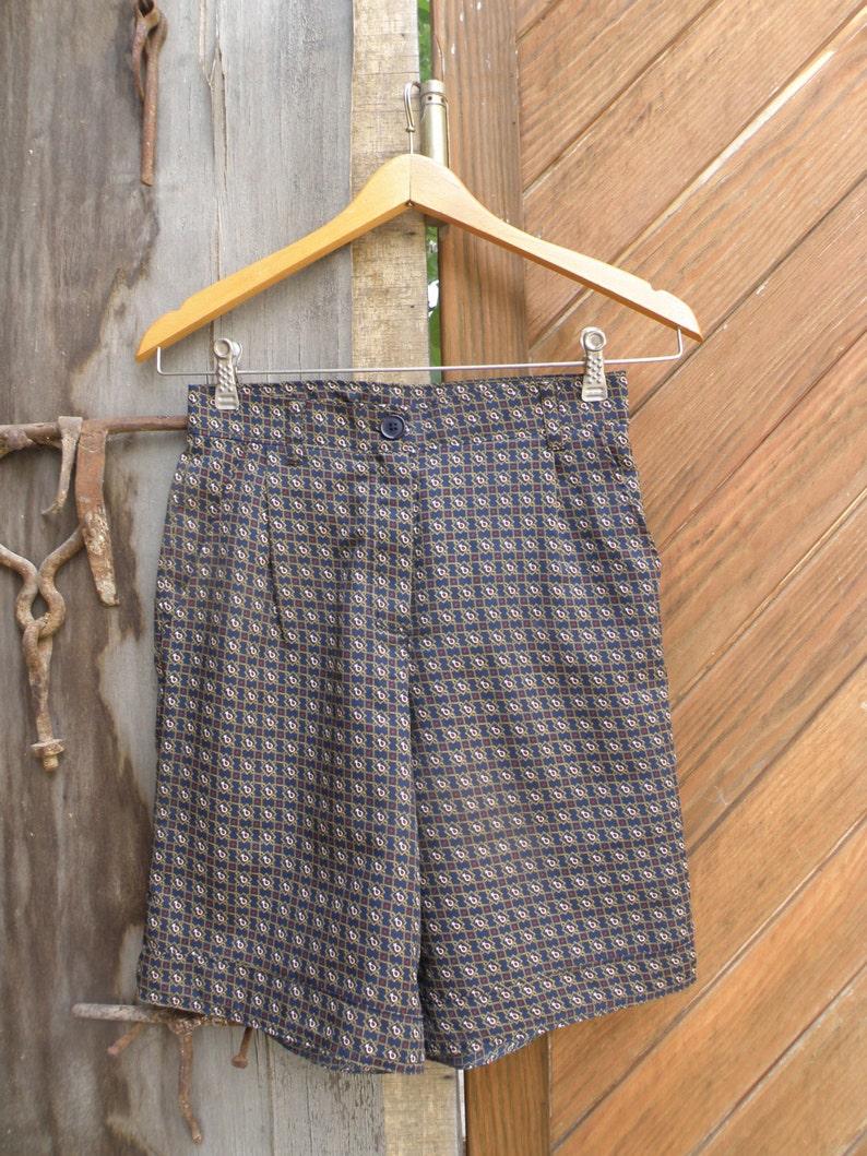 Handmade Bermudas pantsenglish printhigh waist