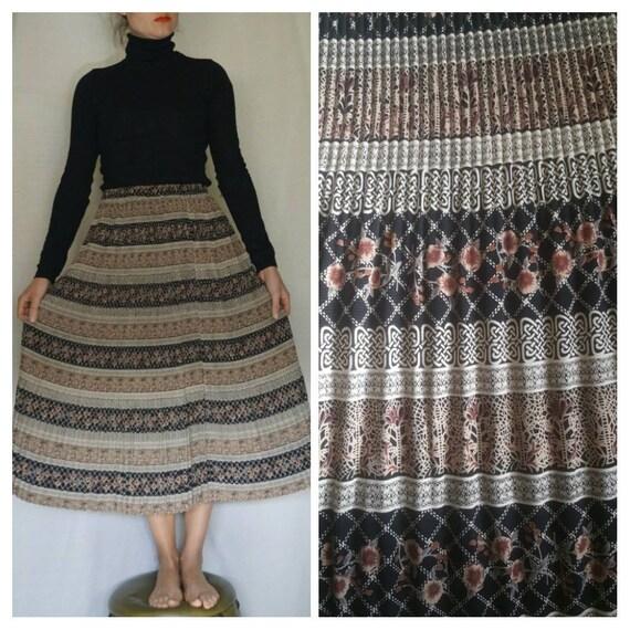 c1ed6b15 VINTAGE skirt 70s gipsy skirt hippie skirt pleated skirt | Etsy