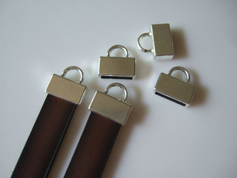 10 Pieces Antique Silver Flat Leather End Caps  10mm Flat image 0
