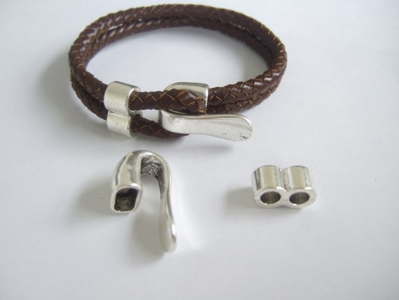 3Sets Half Cuff Magnetic Clasp Bracelet Findings for 9.5*6mm Leather Cord