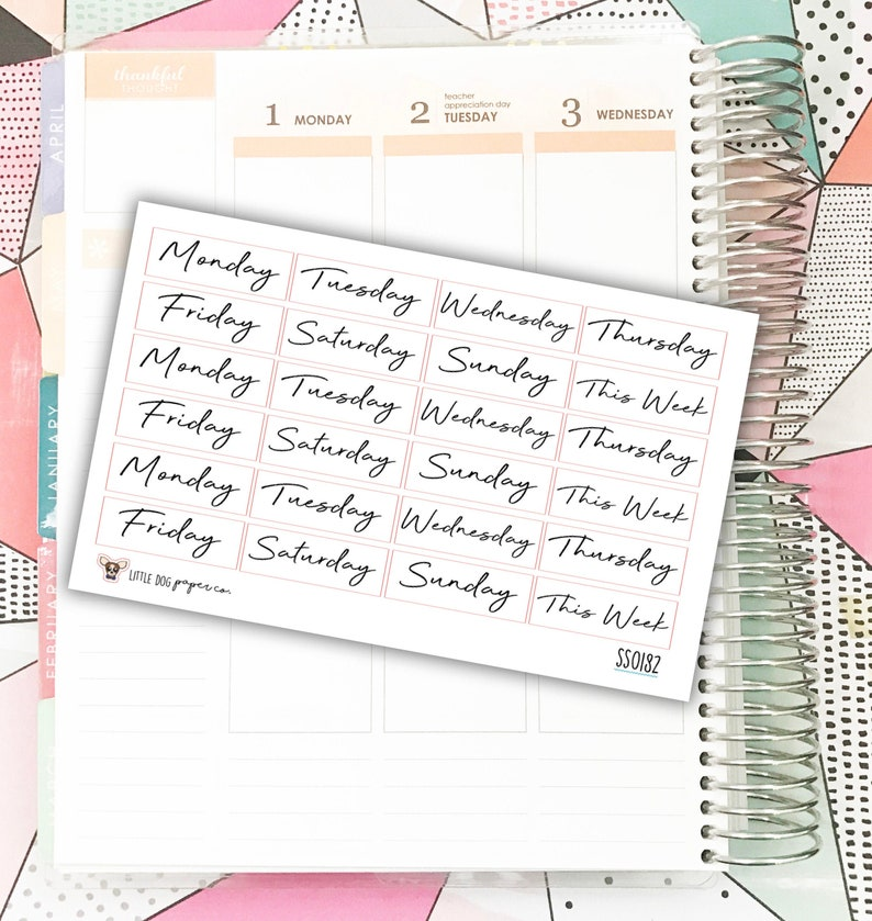 SS0182 // Printpression Weeks Headers // Planner Stickers image 0
