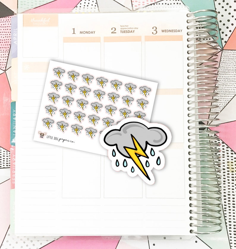 SS0166 // Thunderstorms Weather // Planner Stickers image 0