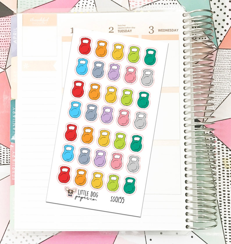 SS0155 // Kettle Bells // Planner Stickers image 0