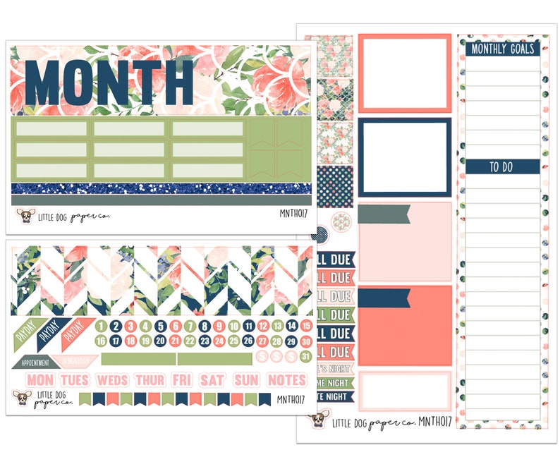 MNTH017 // Monthly View Kit // Watercolor Floral image 0